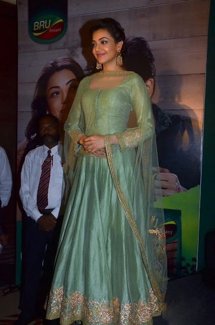 Kajal Aggarwal in Pastel Green Anarkali Suit by Rimple and Harpreet Narula