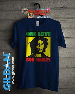 Baju Kaos Distro Bob Marley Poster Warna Biru Dongker