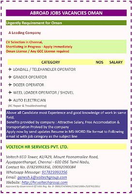 Urgently Requirement for Oman