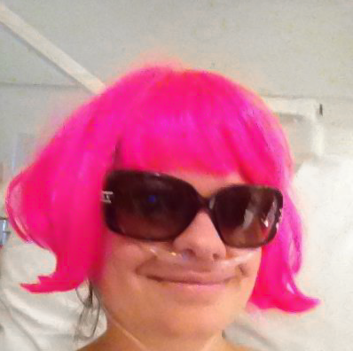 Cindy swingin' a pink wig!