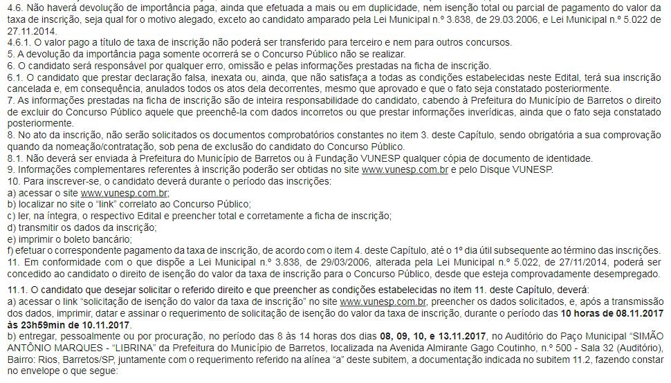 Recorte do Edital onde fica claro as regras sobre isenção de pagamento de inscrição para quem é desempregado