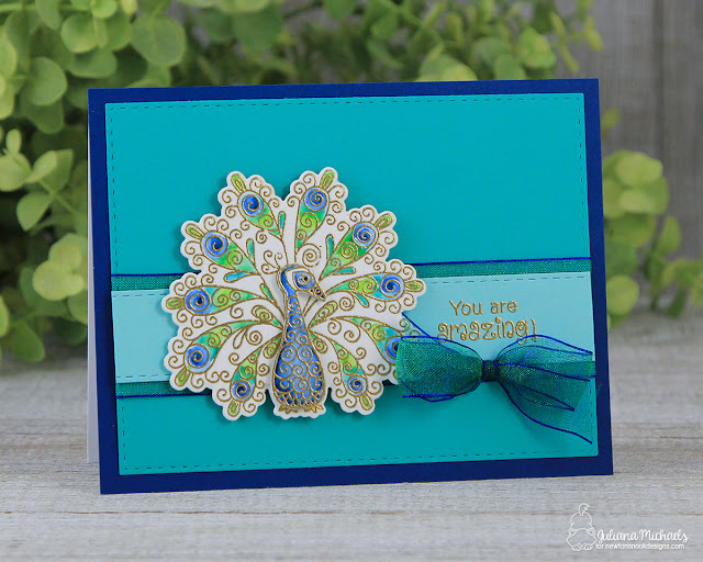 You Are Amazing Card by Juliana Michaels featuring the Newton's Nook Designs Beautiful Plumage stamp and die set