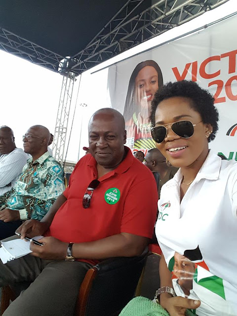 Check out Mzbel and President Mahama's cute selfie