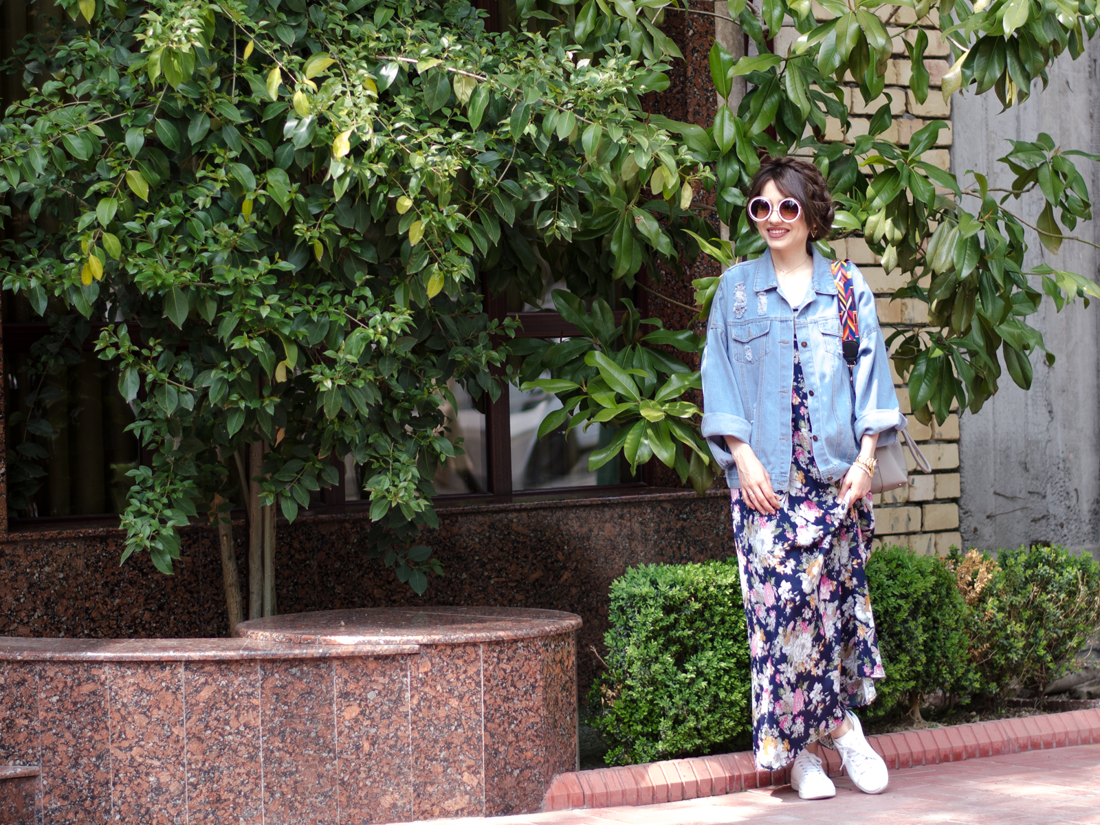 fashion blogger diyorasnotes sierra beta maxi dress denim jacket oversized sunglasses white sneakers