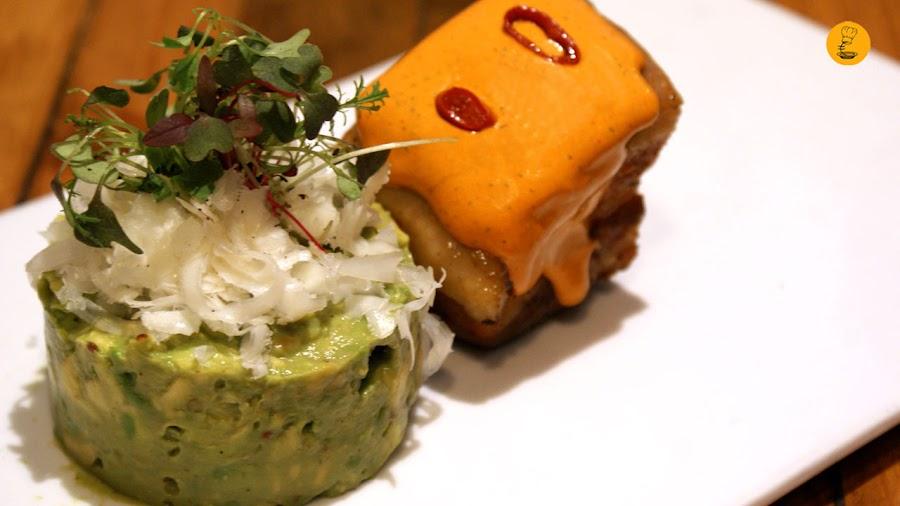 Tartar de aguacate con panceta a la brasa Gofio by Cicero Canary Madrid barrio de las Letras