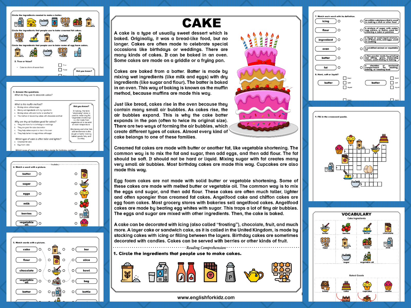Reading Comprehension Worksheets Food And Cooking
