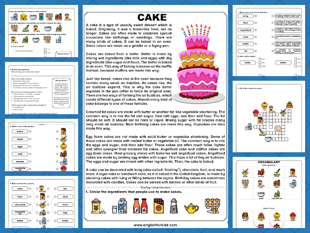 Reading comprehension worksheets about cooking - baking cakes