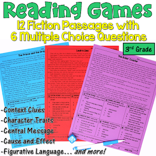 These reading games are perfect for test prep! This set includes 12 fiction passages written for 3rd grade students. After reading each passage, students answer 6 multiple choice questions. Reading skills include central message, character traits, context clues, cause and effect, figurative language, and more!