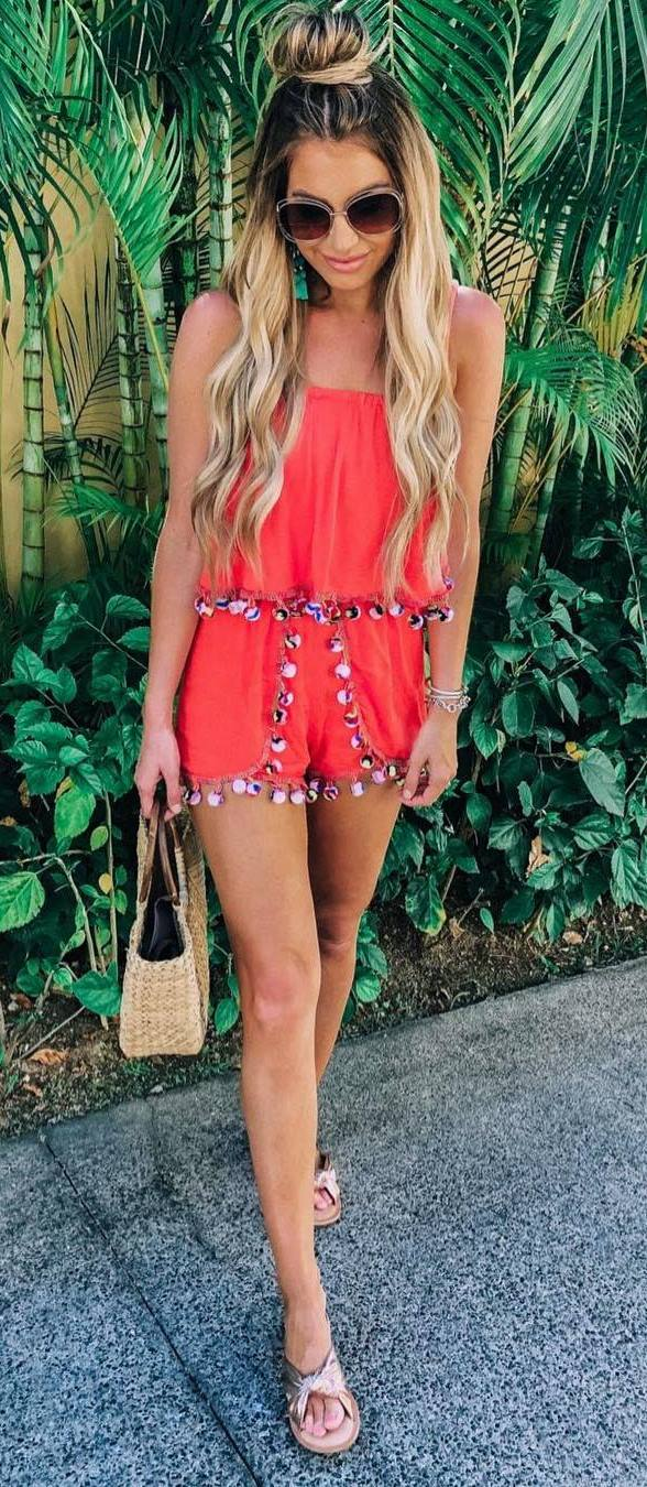 how to style a tassel romper : bag and slides