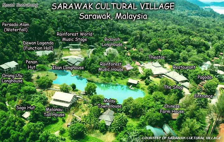 Sarawak Cultural Village Aerial view map