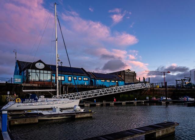 Photo of Maryport Marina building at sunset