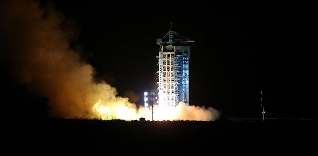 A Long March 2D rocket carrying the Shijian 10 satellite blasts off at the Jiuquan Satellite Launch Center in Jiuquan, northwest China's Gansu Province, Apr. 5, 2016. Photo Credit: Xinhua/Jin Liwang
