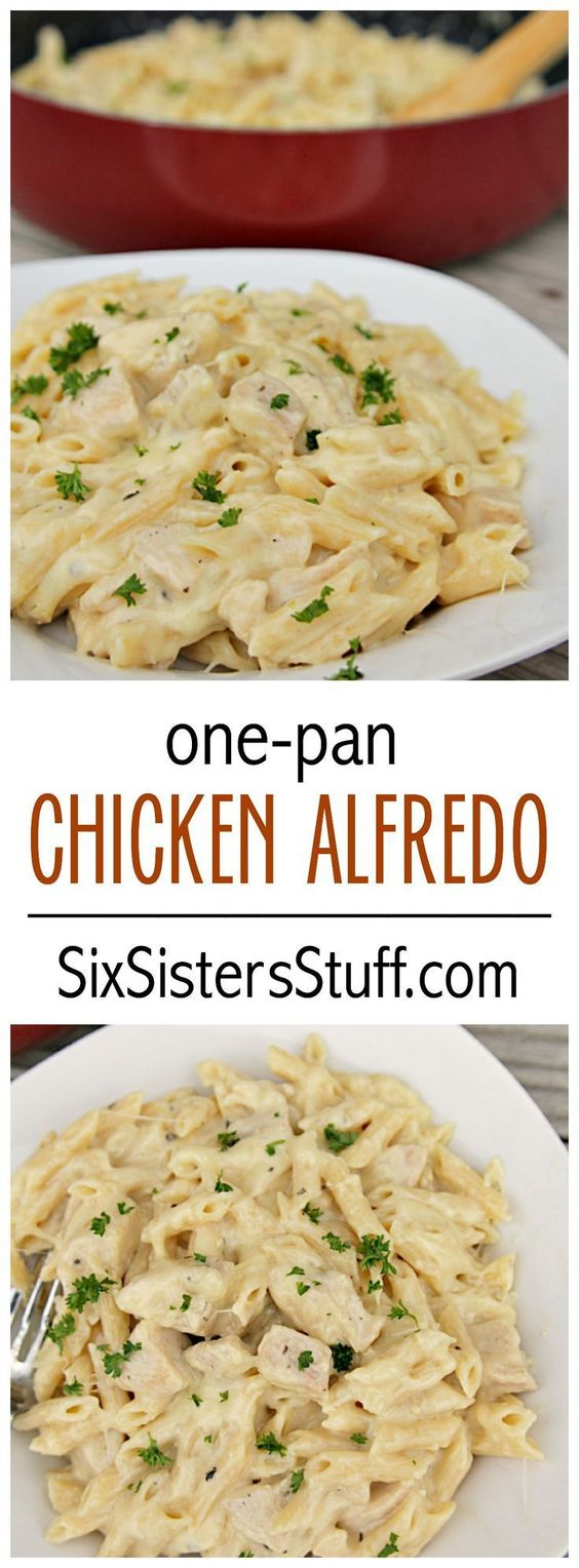 ONE POT CHEESY CHICKEN ALFREDO #dinnerfood #pasta