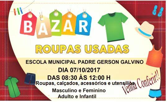 9c2b22fdb0e Laranjeiras do Sul Vem aí o Bazar de roupas usadas da Escola Municipal  Padre Gerson Galvino