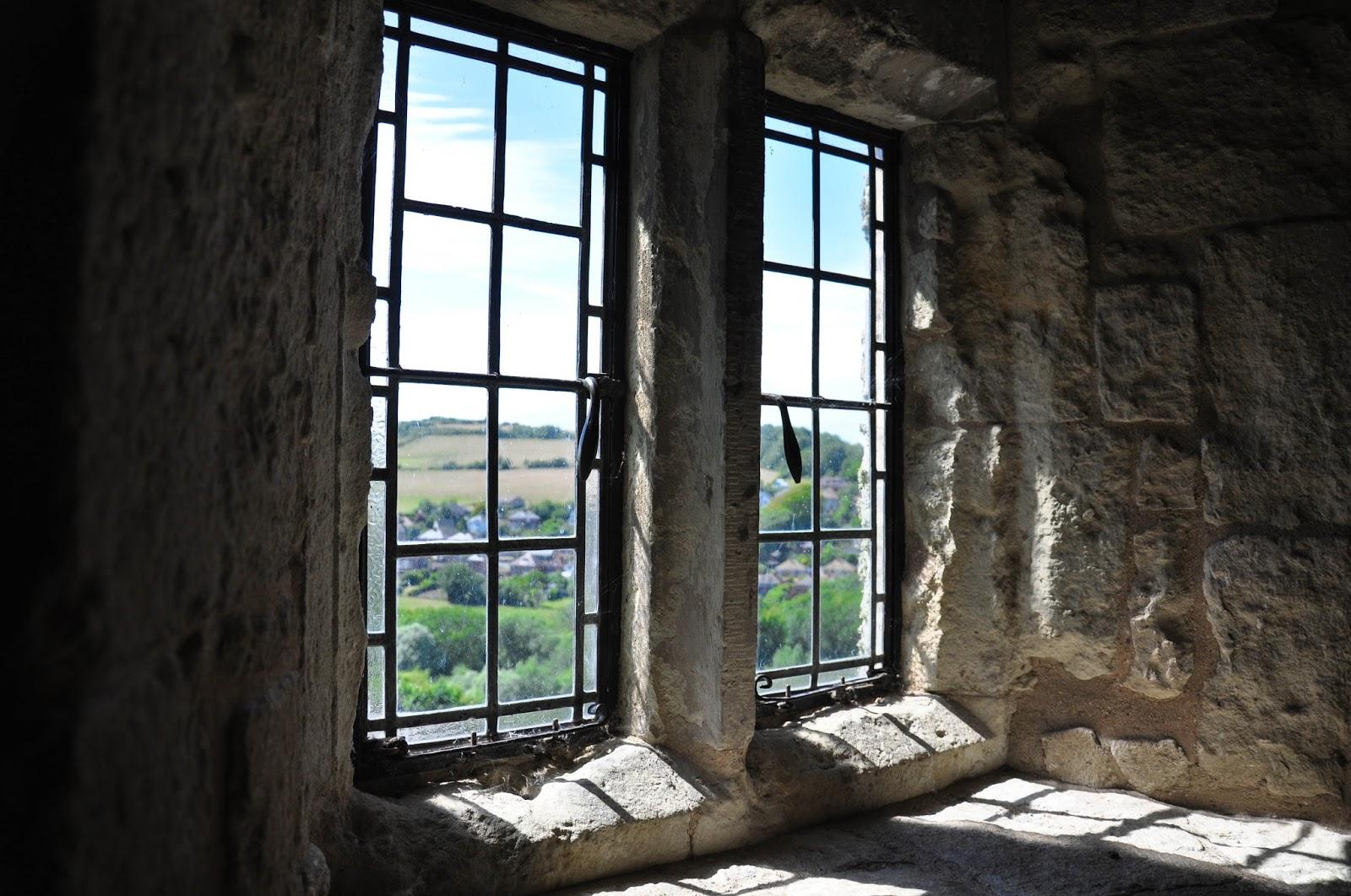 Window facing the beautiful landscape, Carisbrook Castle, Isle of Wight, UK