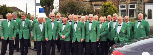 New Mill Male Voice Choir sing for Pete sat in his front room