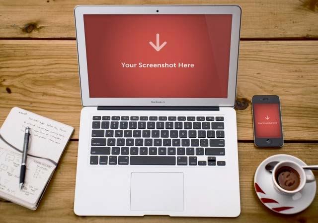 Realistic Macbook Screen Mockup