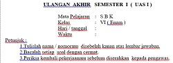 Soal Ulangan Akhir Semester 1 SBK Kelas 6 SD MI dan Kunci Jawaban