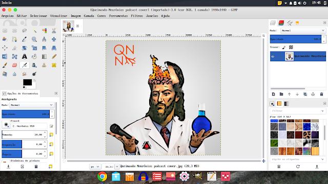 Gimp rodando no Budgie Desktop no modo janela única - QN