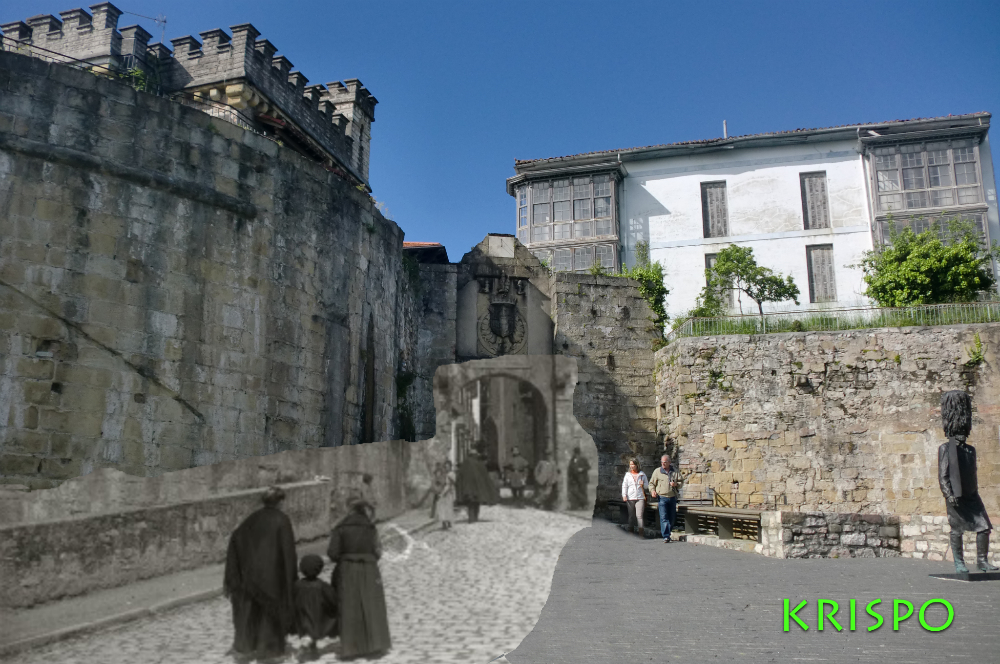 superposicion de foto antigua y actual de calle mayor de hondarribia