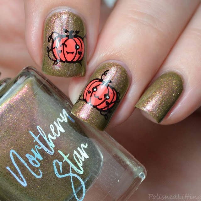cute halloween pumpkin nail art