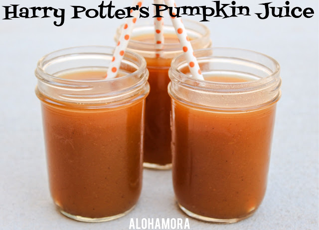 Pumpkin Juice is mentioned ALL the time in the Harry Potter books.   As well it should be b/c it is delicious!  This recipe is easy to make, copycat version of the one they sell at Wizarding World of HP at Universal Studios, and would make a perfect drink for a Halloween Party. Alohamora Open a Book http://www.alohamoraopenabook.blogspot.com/ gluten free, nut free, dairy free, easy, book food, Harry Potter, Hogwarts, amazing