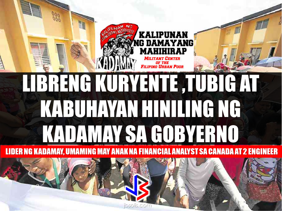 After occupying government housing project in Pandi Bulacan that has been eventually given to them by NHA, Kadamay members has a new demand on President Duterte. They want free electricity and water supply. In an hour long protest they made infront of Pandi Municipal Hall in Bulacan, some 300 members of Kadamay  wishes that their demand would be heard by the government. After acquiring the houses they illegally occupied, they demanded that electricity and water supply has to be provided by the government for free.   And it just doesn't end there, there's more. Kadamay also demanded that the government must provide them with jobs and livelihood with high income.  Kabataan party list  Rep. Sarah Elago and Anakpawis party list Representative Ariel Casilao, the plight of Kadamay does not only end on occupying government housing projects.  Casilao said that Kadamay members has no jobs and it is government's responsibility to give them adequate livelihood or jobs.  Meanwhile, Kadamay leader admitted that she has  far different status in life  compared to her members. In an interview with Sheryl Cosim on News 5, Marissa Palomeno, admitted that she has two children who are both engineers and another child who is a financial analyst in Canada. Palomeno said even though she is far well-off  as compared to her members, she does not forget where she came from and that is the common thing  that makes her cling with the poor. Recommended: DOLE To Hold A Job And Business/Livelihood Fair On Labor Day    ©2017 THOUGHTSKOTO www.jbsolis.com SEARCH JBSOLIS