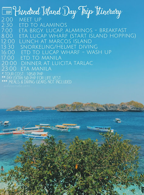 hundred islands day tour itinerary