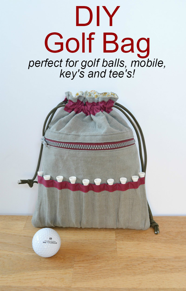 Make a golf bag, with room for lots of golf balls in the main compartment. On the outside are easy to access pockets for golf tees. And there's an extra pocket for keys and mobile phone. Tutorial by Vicky Myers Creations.