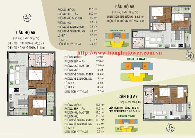 Mặt bằng thiết kế căn hộ A5 A6 và A7, Hồng Hà Tower