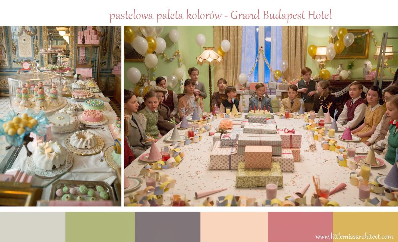 Grand Budapest Hotel, pastelowa paleta kolorów, scenografia