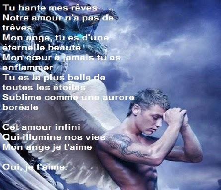Poème d'amour pour mon ange qui fait mon bonheur, Cet amour infini Qui illumine nos vies Mon ange je t'aime