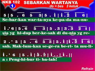 Lirik dan Not NKB 102 Sebarkan WartaNya