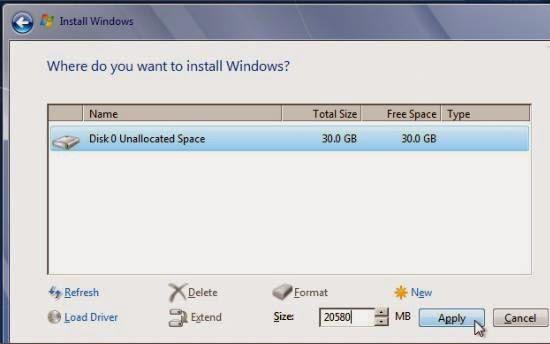instalare windows 7 - realizarea partititei C