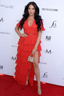 Natalie Halcro Sexy Cleavage Photos in Red Dress