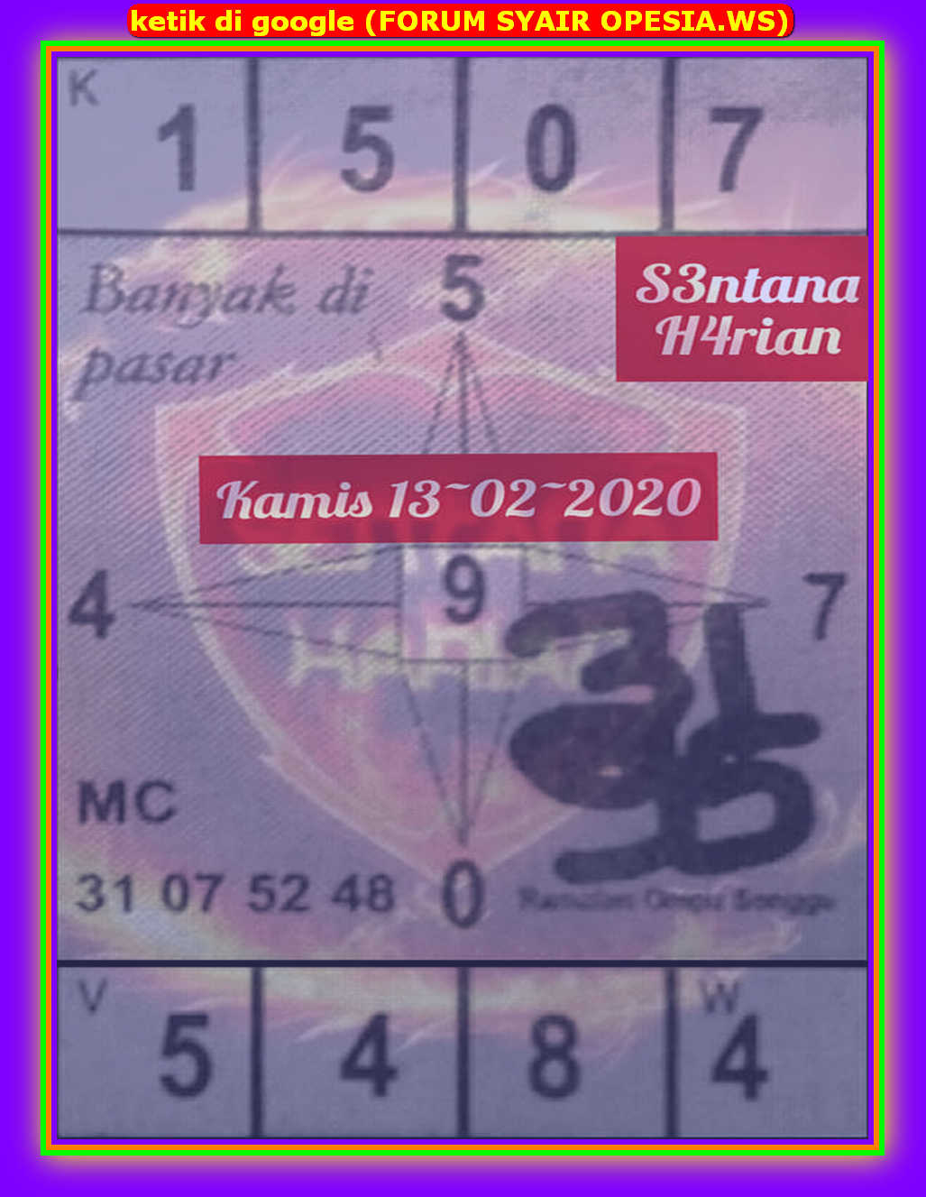 Kode syair Hongkong Kamis 13 Februari 2020 65