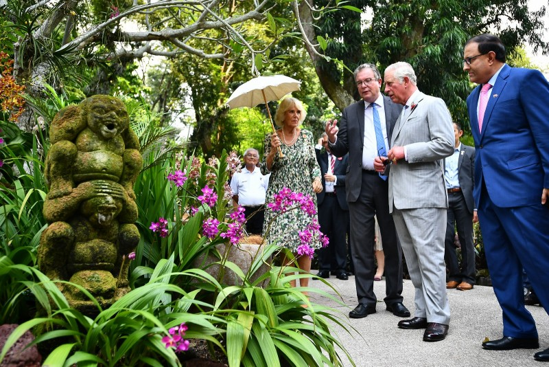 Prince Charles and Duchess Camilla visited the National Orchid Garden at the Singapore Botanic Gardens, where an orchid was named in their honour.