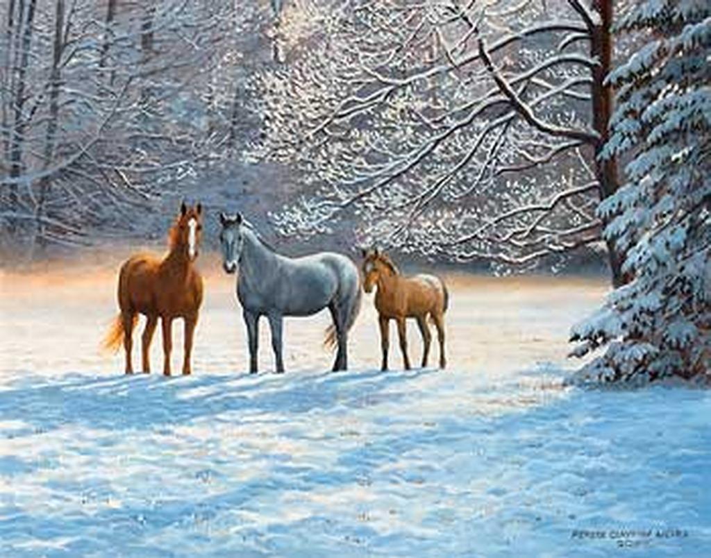 Imágenes Arte Pinturas: Caballos En Paisajes Del Invierno