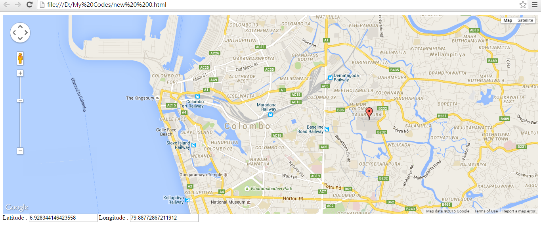 Getting The Selected Latitude And Longitude From Google Map Using - Show google map using latitude and longitude javascript