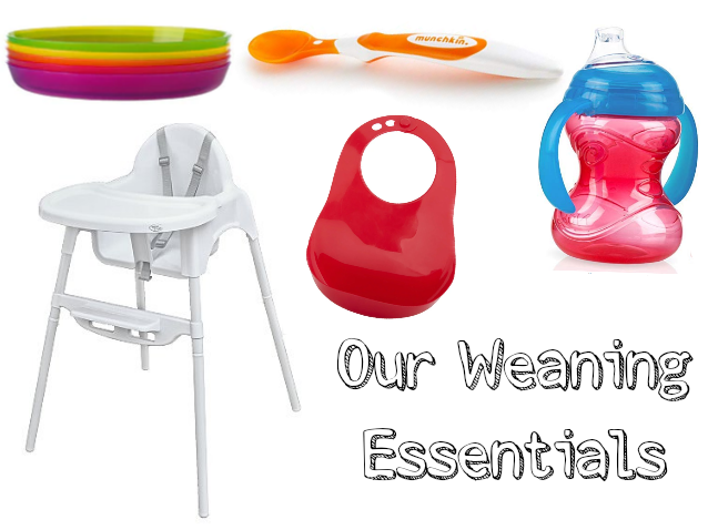 Image of Best Weaning Products, Ikea Kalas Plates, Bebe style highchair from Asda, munchkin soft tips spoon, Nuby Simply Grip and Sip, Tommee Tippee Comfi Neck Bib