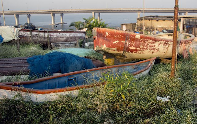 boats ashore worli koliwada mumbai india