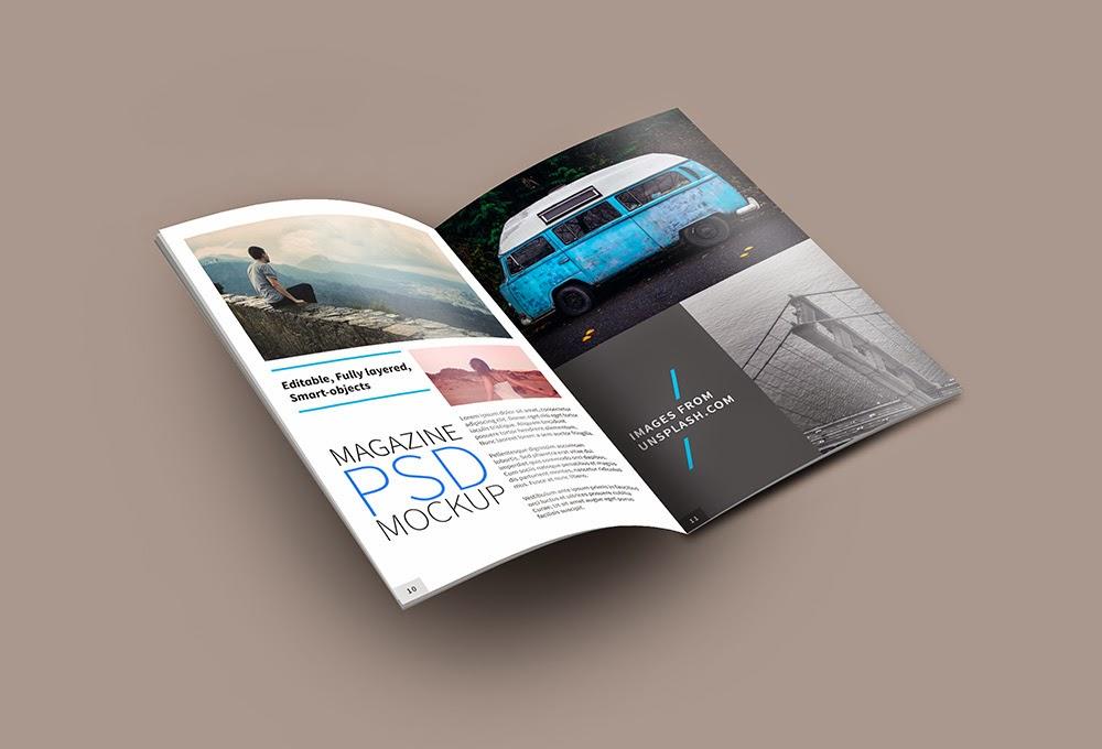 Open Magazine Mockup Template
