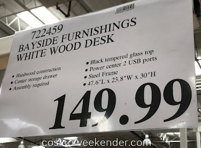 Deal for the Bayside Furnishings White Wood Desk at Costco