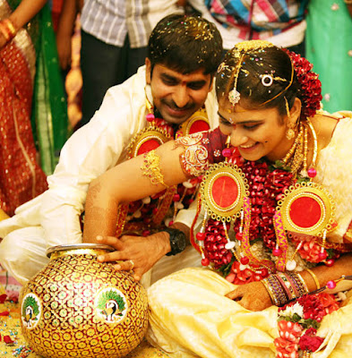 bride Sri Satya and the groom Gopichand rituals