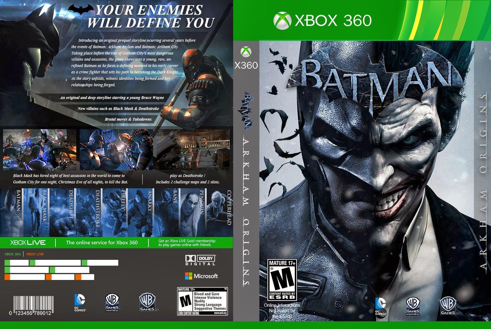 Capa Batman Arkham Origins Xbox 360 - Gamecover | Capas ...