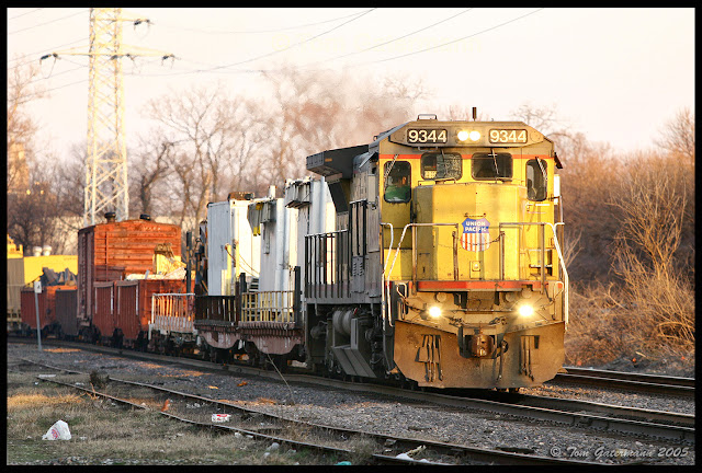 UP 9344 leas a work train on the Jefferson City Subdivision at St. Louis