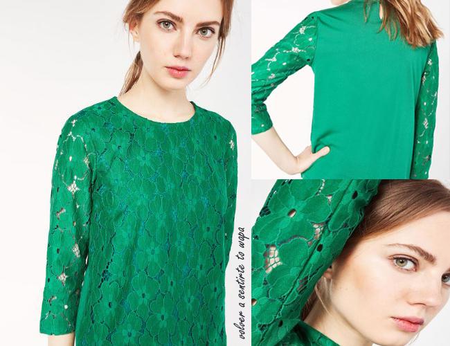 Camiseta verde con margaritas de encaje de Cortefiel
