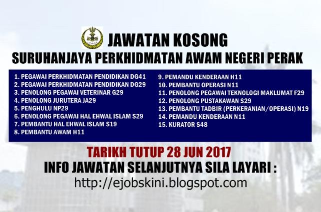 Jawatan Kosong Kerajaan di SPA Perak Jun 2017