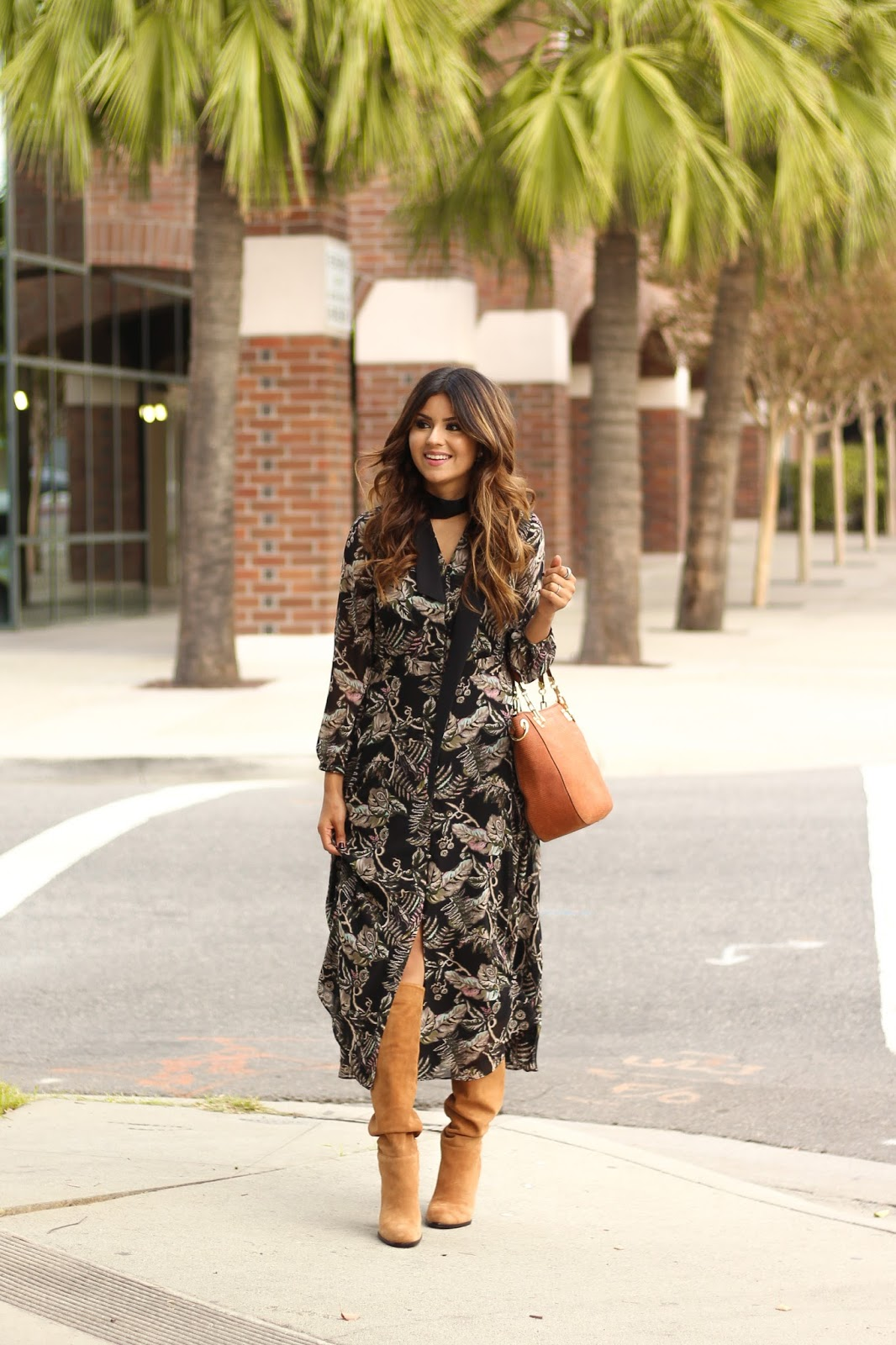 How to style a maxi Dress with tan boots