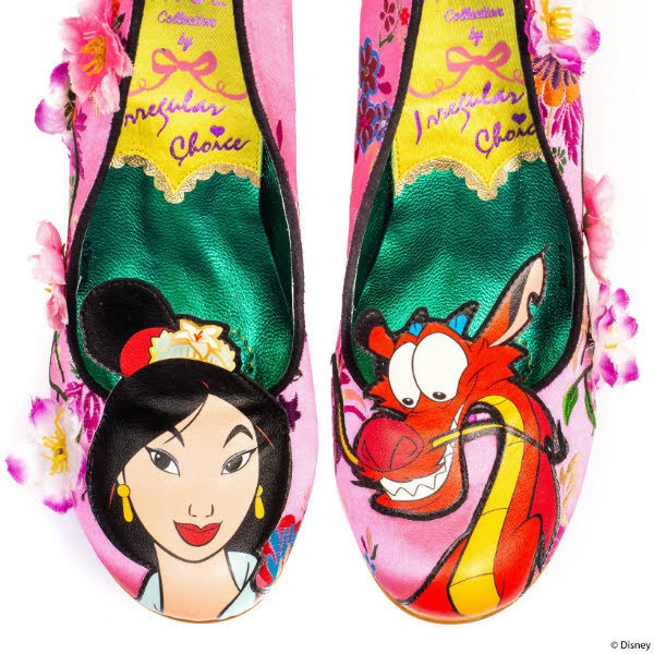 mulan and mushu applique on toes of shoes
